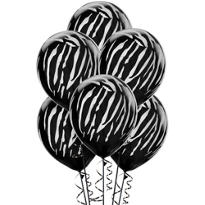 Black Zebra Balloons 6ct