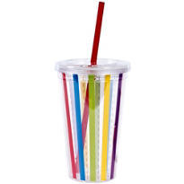 Rainbow Stripe Double Wall Tumbler with Straw