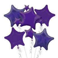 Foil Purple Stars Balloon Bouquet 5pc