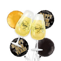 Foil Toasting Glasses New Years Balloon Bouquet 5pc