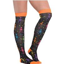 Neon Skeleton Over-the-Knee Socks