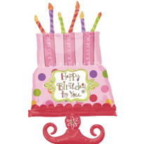 Foil Giant Sweet Stuff Happy Birthday Cake Balloon 34in