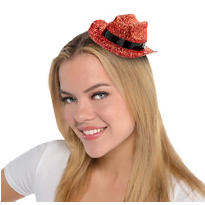 Mini Orange Glitter Cowboy Hat