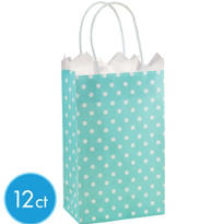 Light Blue Dot Mini Gift Bag 12ct