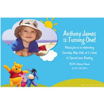 Pooh in Sunshine Custom Photo Invitation