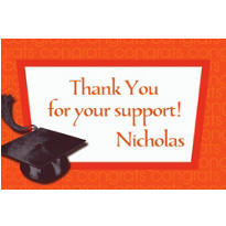 Custom Orange Congrats Grad Thank You Notes