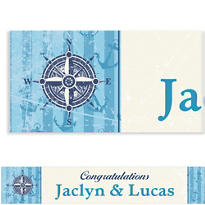 Compass on Seersucker Border Custom Banner 6ft