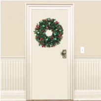 Holly Tinsel Wreath 20in