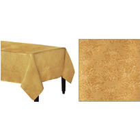 Gold Damask Fabric Tablecloth 84in