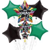 Foil Star Stacker Graduation Balloon Bouquet 5pc