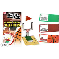 Folded Sports Balls Valentines Day Cards 24ct