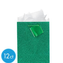 Medium Green Glitter Gift Bags 9in 12ct