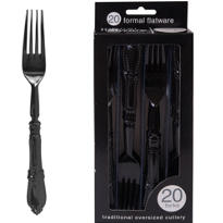 Formal Black Plastic Forks 20ct