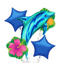 Foil Blue Dolphin Balloon Bouquet 5pc