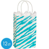 Blue Zebra Print Mini Gift Bag 12ct