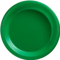 Festive Green Plastic Dinner Plates 20ct