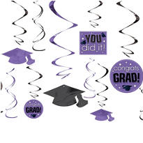Purple Graduation Swirl Decorations 12ct