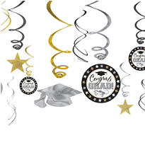 Black, Gold & Silver Graduation Swirl Decorations 12ct