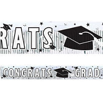 White Foil Fringe Graduation Banner 65in