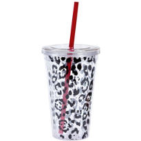 Leopard Print Double Wall Tumbler with Straw