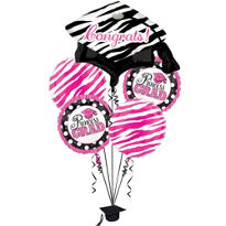 Foil Pink Princess Graduation Balloon Bouquet 5ct