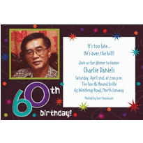 The Party Continues 60th Birthday Custom Photo Invitation