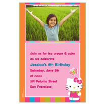 Hello Kitty Custom Photo Invitation
