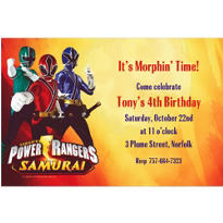Power Rangers Custom Invitation