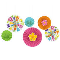 Hibiscus Paper Fan Decorations 6ct