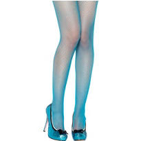 Adult Neon Blue Fishnet Pantyhose