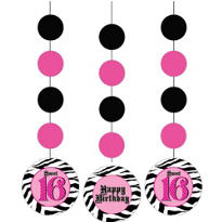 Super Stylish Sweet 16 Hanging Decorations 36in