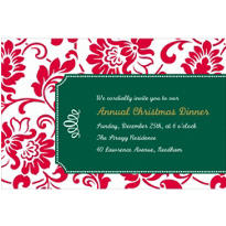 Red & Green Damask Border Custom Christmas Invitation