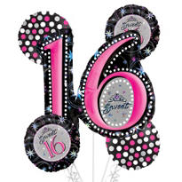 Sweet 16 Birthday Balloon Bouquet 5pc - Sparkle