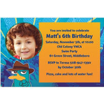 Phineas & Ferb Custom Photo Invitation