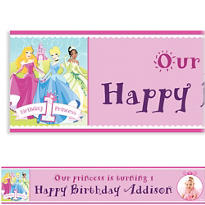 Disney Princess 1st Birthday Custom Photo Banner 6ft