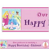 Disney Princess 1st Birthday Custom Photo Banner 6ft