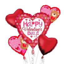 Foil Pink and Red Heart Valentines Day Balloon Bouquet 5pc