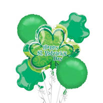 St. Patricks Day Lucky Shamrock Balloon Bouquet 5pc