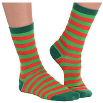Red & Green Striped Socks