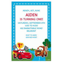 Cars 1st Birthday Custom Invitation