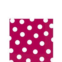 Raspberry Polka Dot Beverage Napkins 16ct