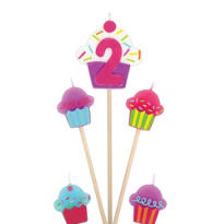 Number 2 Birthday Candle and Cupcakes 5ct