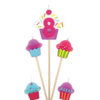 Number 8 Birthday Candle and Cupcakes 5ct