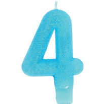 Number 4 Caribbean Blue Glitter Birthday Candle 3in