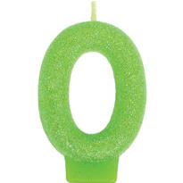 Number 0 Kiwi Green Glitter Birthday Candle 3in