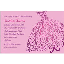 Quilled Bridal Gown Custom Bridal Shower Invitation