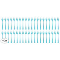 Mini Caribbean Blue Plastic Forks 40ct