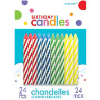 Primary Color Spiral Birthday Candles 24ct