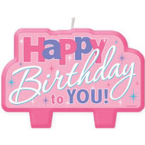 Pink Happy Birthday to You Candle 4in