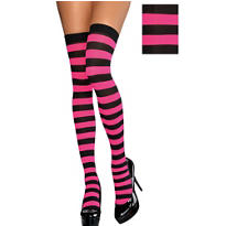 Adult Pink and Black Wide Striped Thigh-High Stockings
